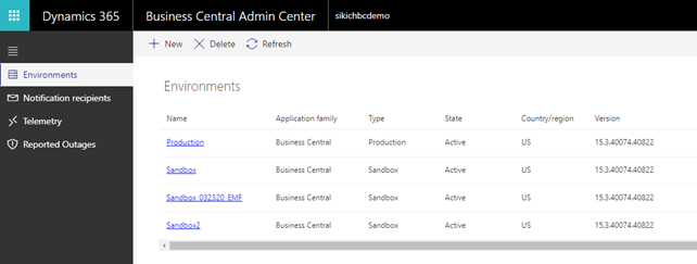 business central admin center