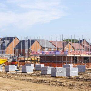 New build houses building construction site