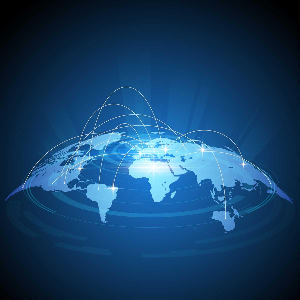 Futuristic world map traffic design