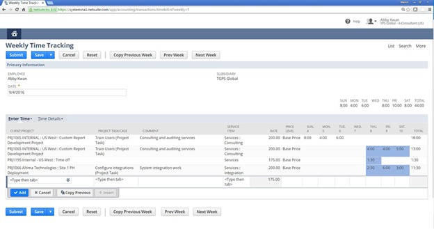 NetSuite Time Tracking