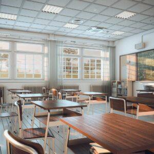 interior of an empty school classroom