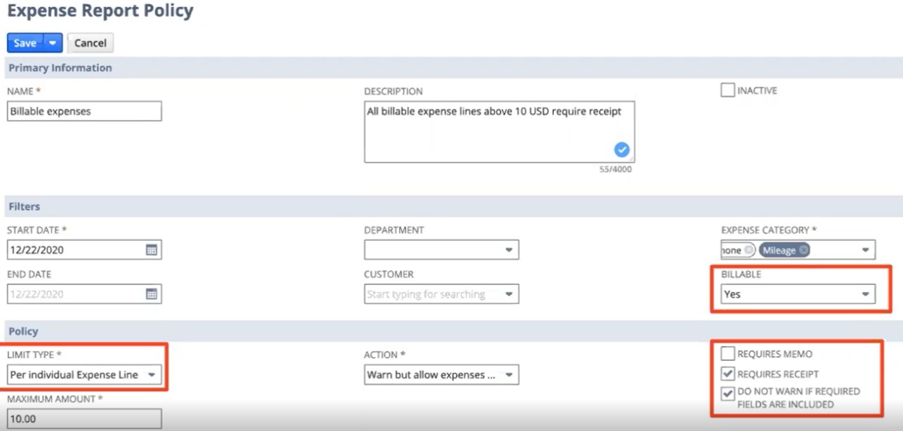 NetSuite 2021.1 release life sciences Expense Report policy