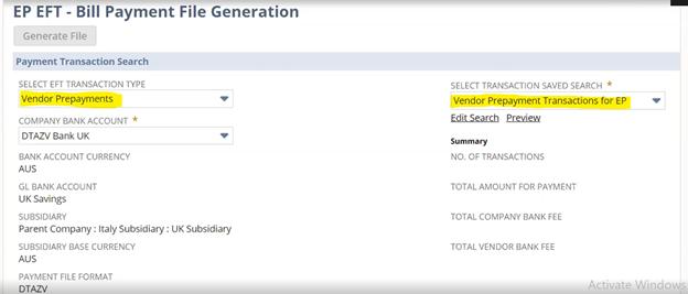 EFT Bill Payment File generation NetSuite 2021.1