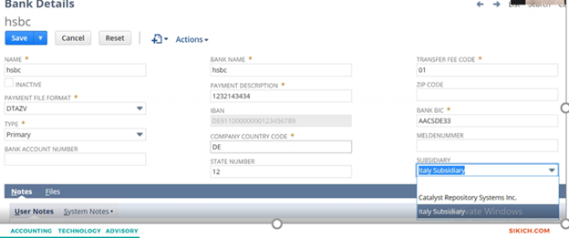 NetSuite 2021.1 release bank details