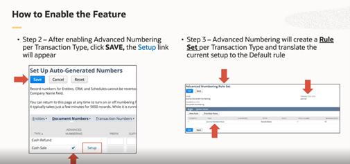 Enabling Advanced Numbering in NetSuite 2021.1