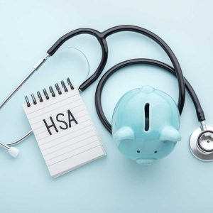 Health saving account, hsa concept on blue background
