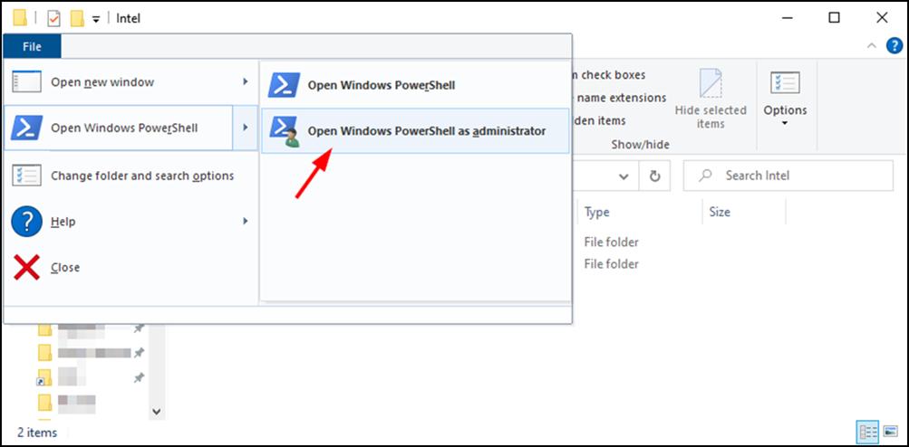 Open Windows PowerShell as administrator