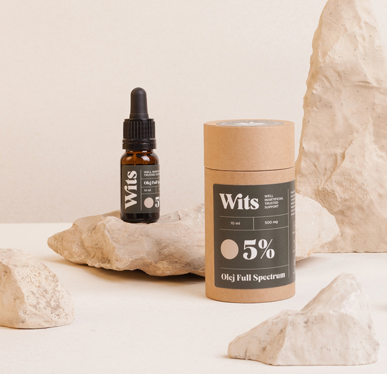 wits packaging for skin and body care; paper products styled on rocks