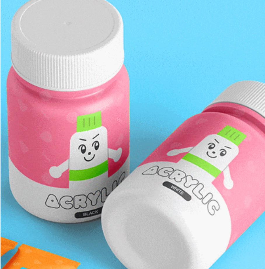 acrylic packaging on paint bottle; pink wrapping, white bottle