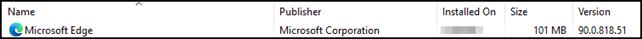 Edge now in installed programs