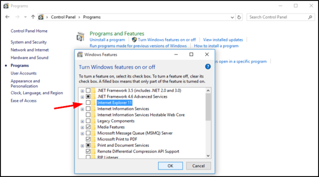 turn off IE as feature in Windows 10