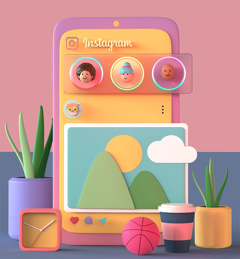 Instagram 3D colorful cartoon and nature inspired imagery on a fake phone for display