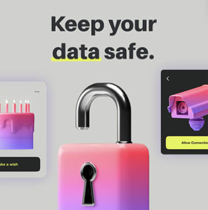 keep your data safe language with a colorful, neon pink and purple lock that is open