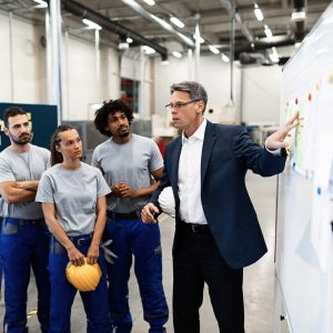 Mature businessman explaining new strategy plans to group of employees in a factory.