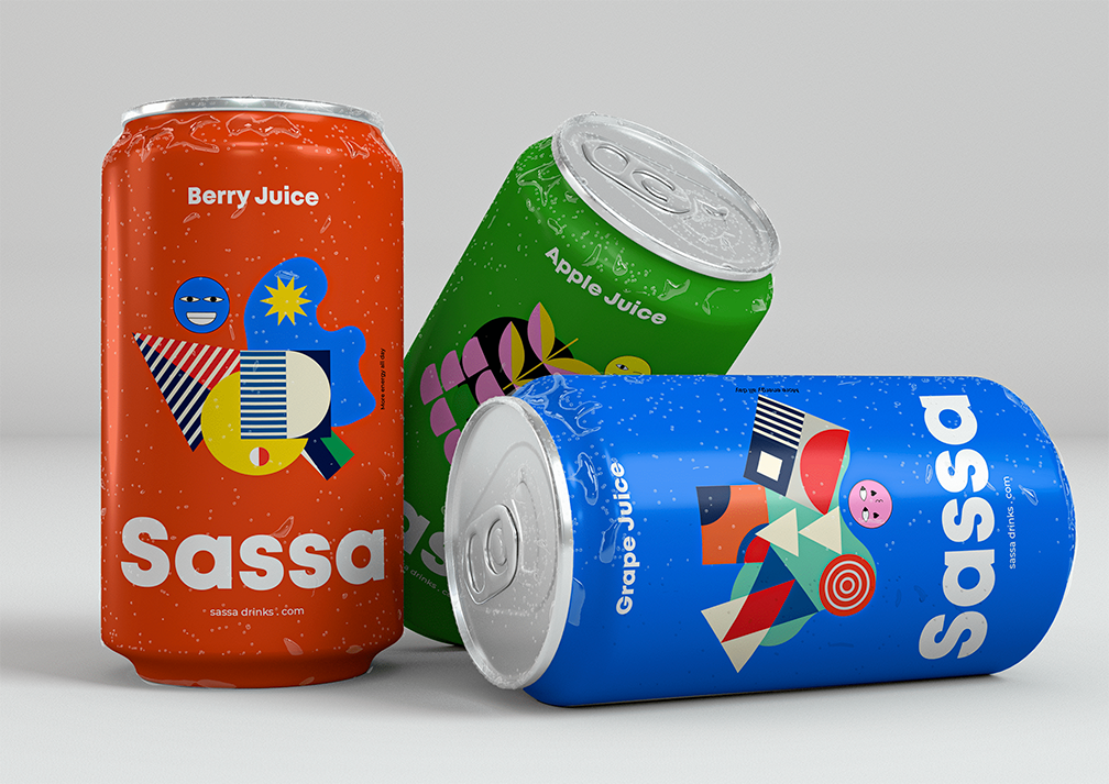 sassa soda brand; three cans in bright colors