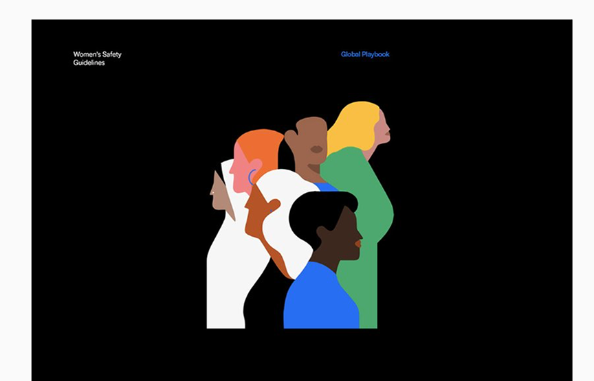 uber womens safety guidelines; graphics of women illustrations stacked