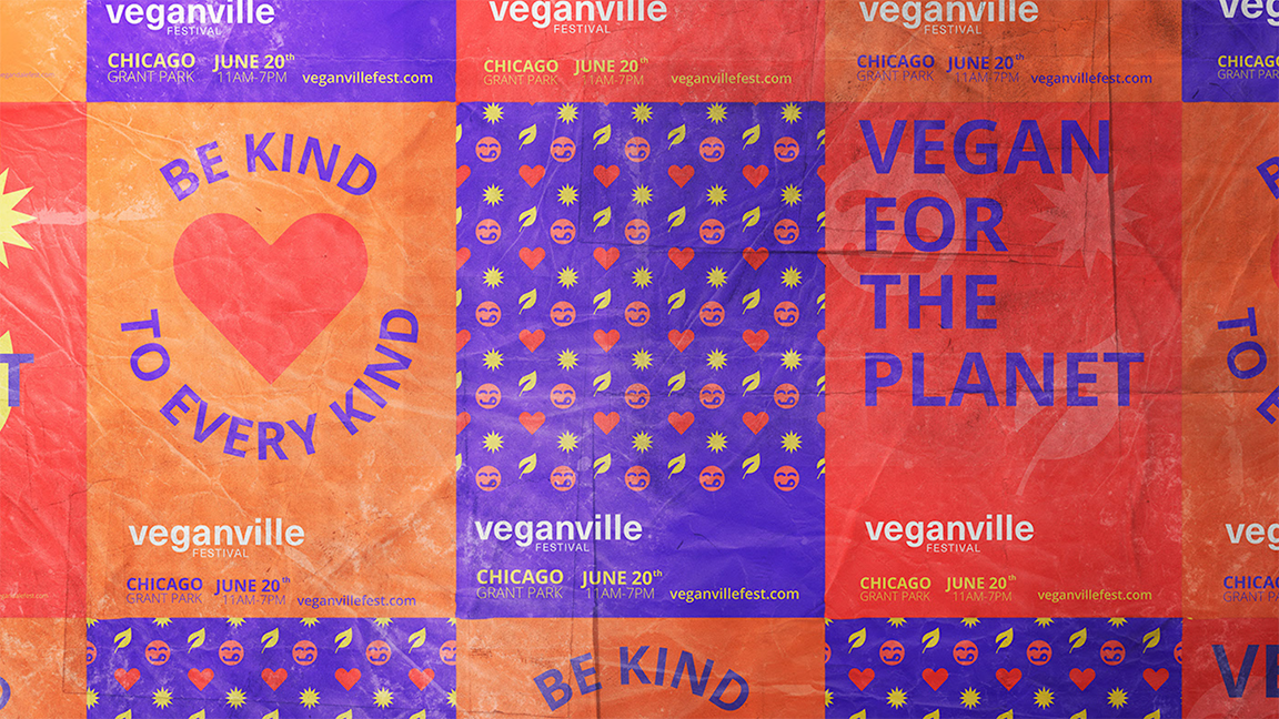 colorful posters of veganville and be kind to every kind; vegan for the planet