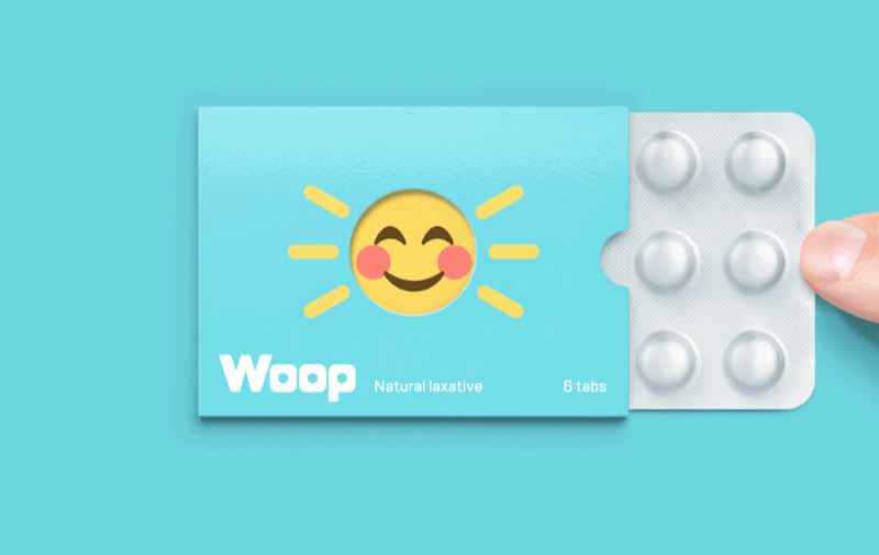 woop tablets in light blue packaging and smiling sun imagery