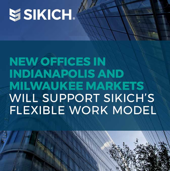 sleek building exterior with text over the image explaining Sikich's new offices