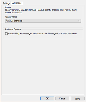 advanced settings for configuring RADIUS clients