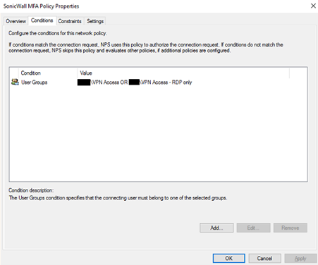 SonicWall MFA policy properties conditions