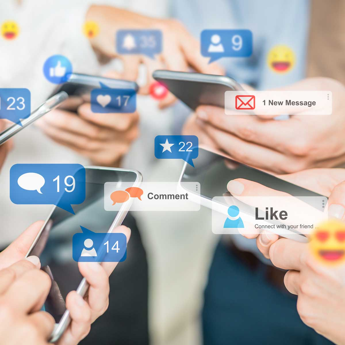 Social media concept. hands texting and checking notifications on phones and apps; crowded in a circle of phones and outstretched arms