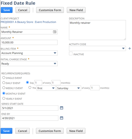 managing retainers in NetSuite