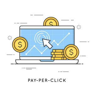 Pay per click, internet marketing. Flat line art style concept. cartoon depiction of computer with coins overlaying it