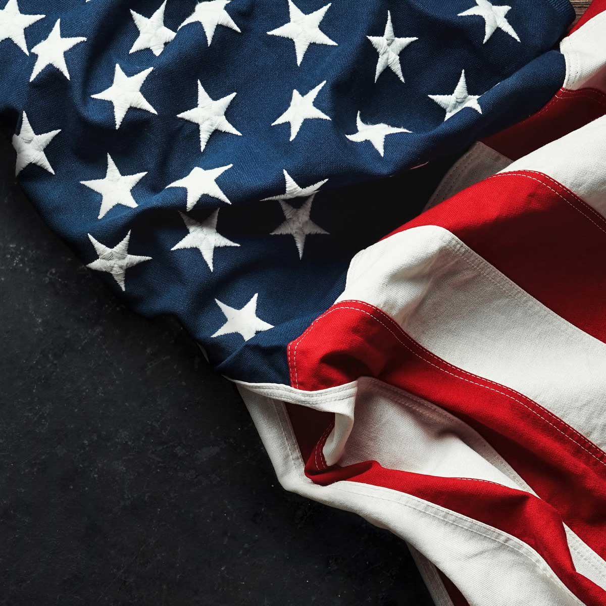 United States Flag On Black Background