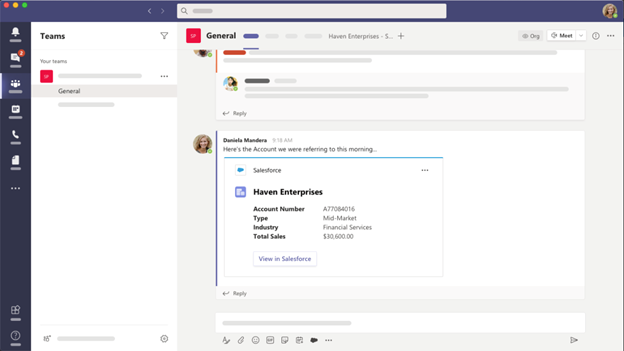 Salesforce integrating with Microsoft Teams