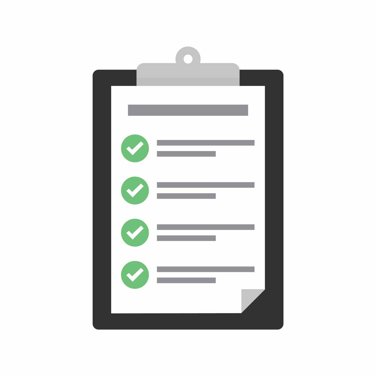 Clipboard with checklist icon. Flat illustration of clipboard with checklist icon for web with green check boxes on white background.