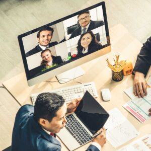 Video call group business people meeting on virtual workplace or remote office. Telework conference call using smart video technology to communicate colleague in professional not-for-profit organization