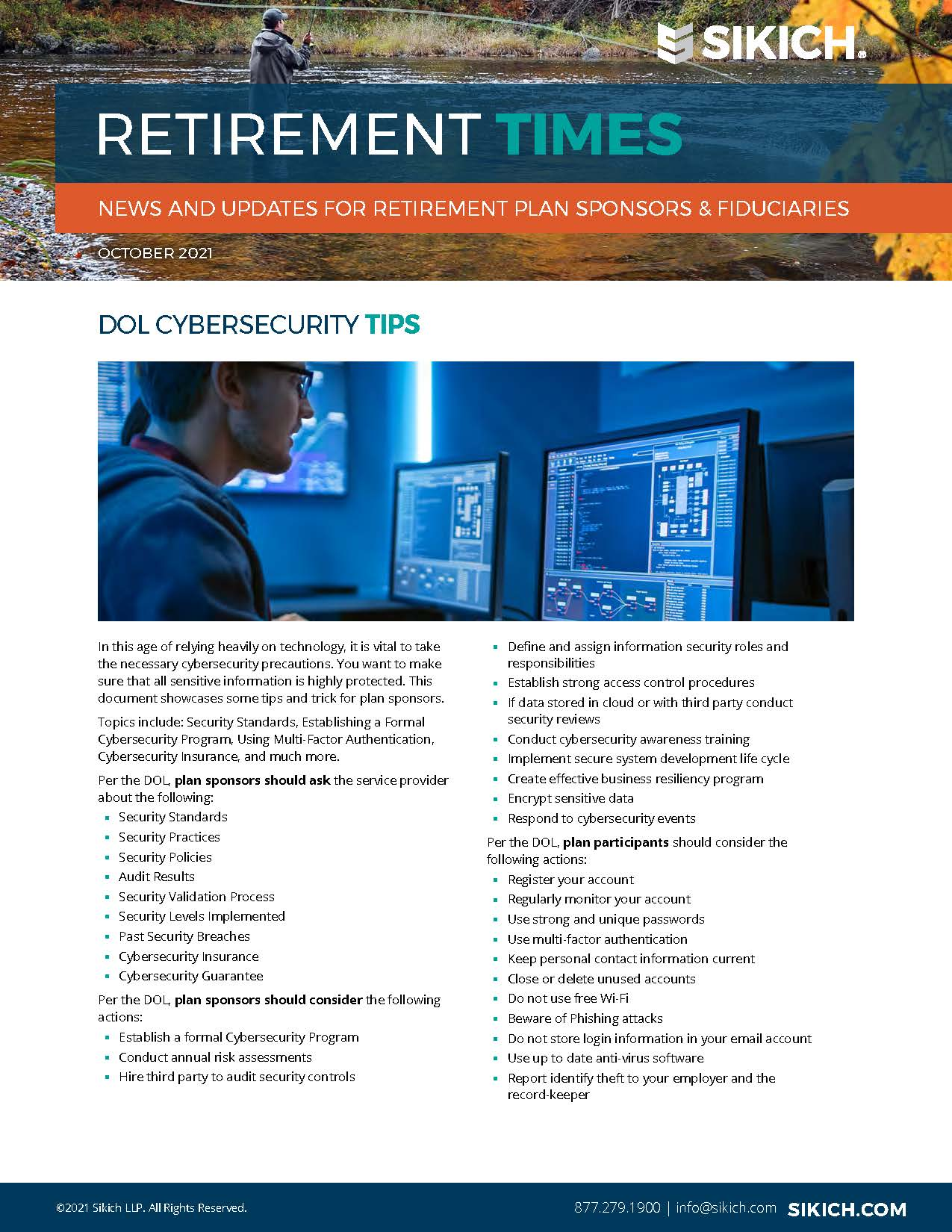 screenshot of the cover image of the Retirement Times Newsletter October 2021 edition